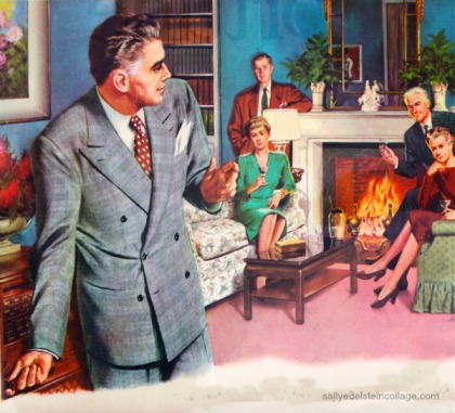 vintage illustration 1940s couples at home