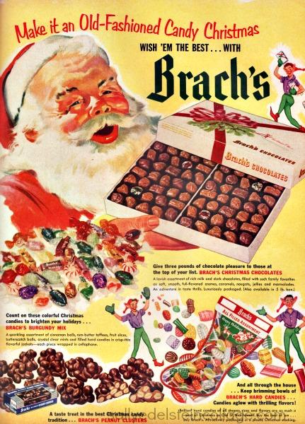 Santa xmas candy ad 1950s
