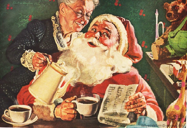 xmas coffee ad Mr & Mrs Santa Claus