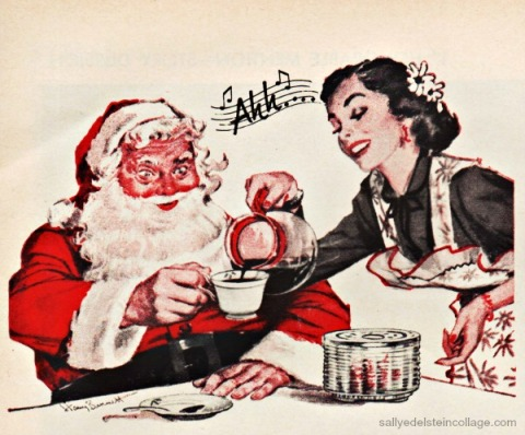 xmas coffee kitchen santa 1950s