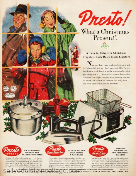 xmas ads kitchen presto 1950s