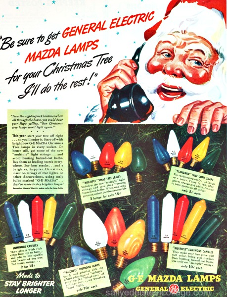 Vintage illustration Santa Xmas bulbs 1940s