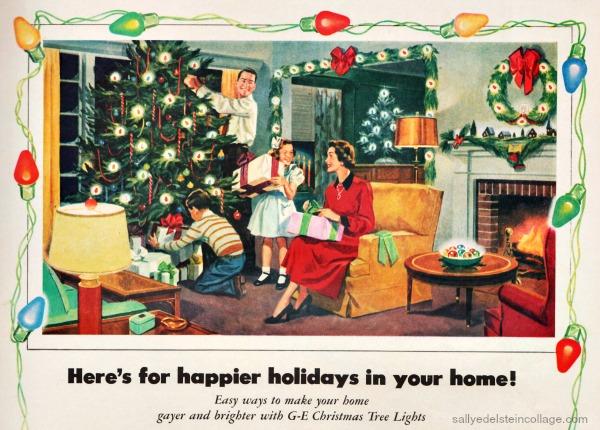 Vintage illustration xmas lights family decorating tree 1950s