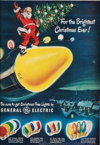 vintageSanta riding Xmas lights illustration