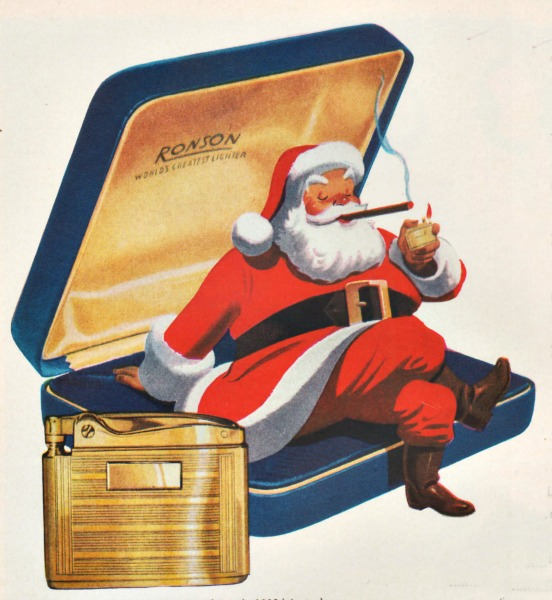 Xmas ad smoking lighter Santa 1940s