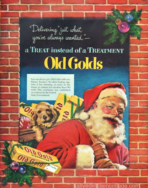 Xmas smoking ad Santa Claus 1950s