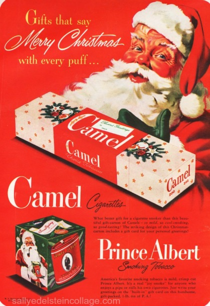 xmas smoking Santa ad 1940s