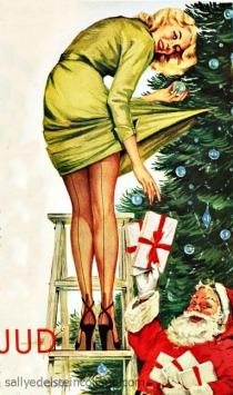 woman decorating tXmas ree Santa 1950s