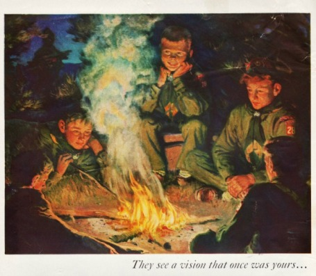 boy scouts around campfire vintage illustration