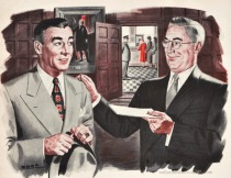 Vintage ad illustration businessmen 1950