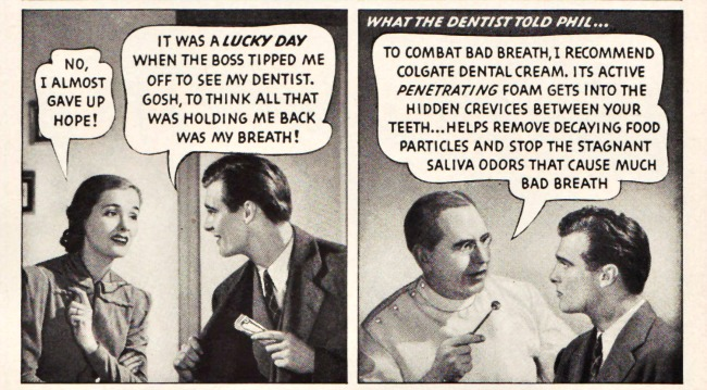 Vintage Ad Colgate Dental Creme 1940 speech bubbles