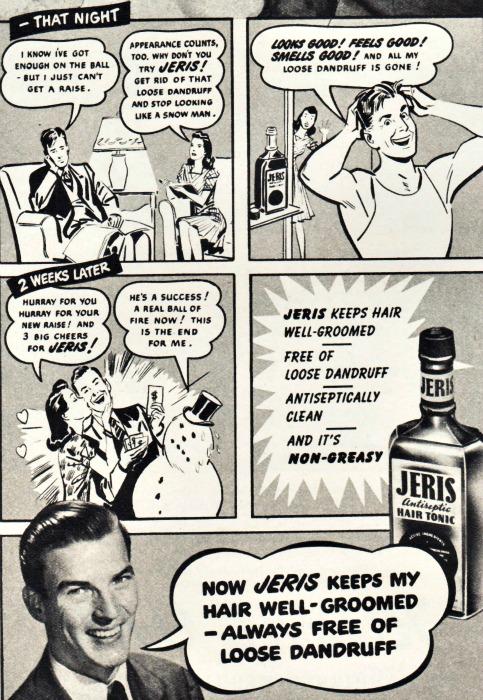 Vintage ad Jeris Hair Tonic 1946 speech bubbles