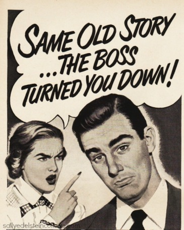 vintage ad cartoon husband wife 1950s