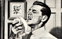 illustration man sneezing old ad