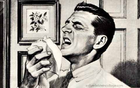 health colds vintage illustration man sneezing