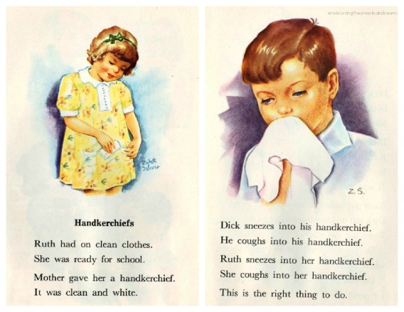 health handkerchief vintage  childrens book illustration 1950s