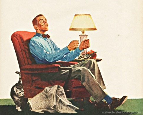 Vintage car ad illustration mid century man in chair