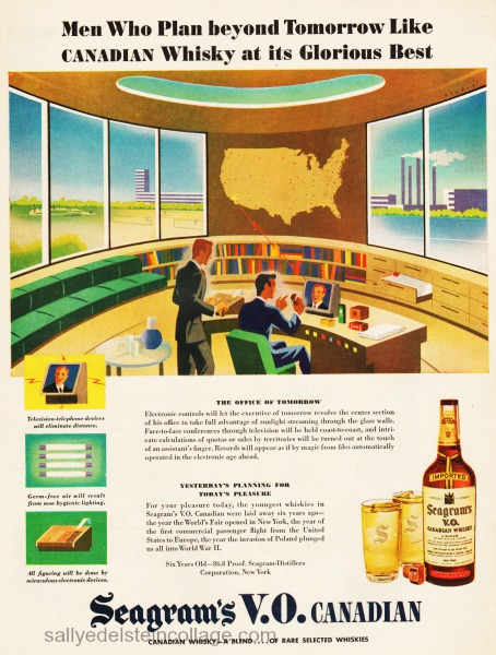 postwar futuristic office illustration1945