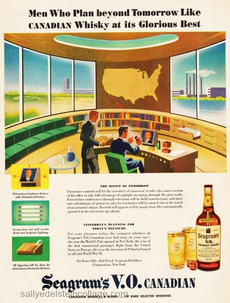 postwar futuristic office illustration1945