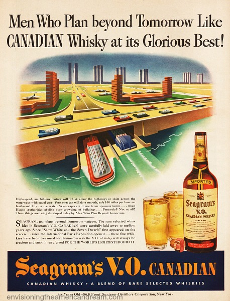 Vintage Ad Seagram's Whiskey 1943 illustration future transportation
