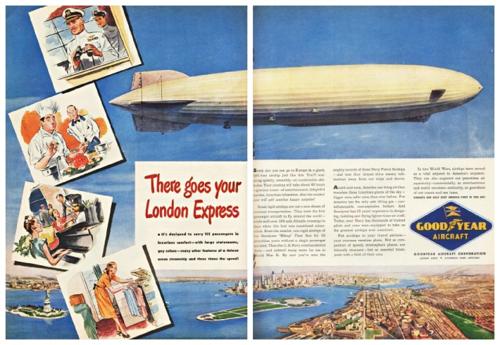 goodyear airship vintage ad illustrations