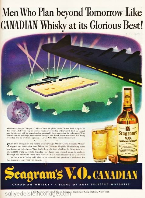 Vintage Ad 1943 Seagram's illustration future airplanes