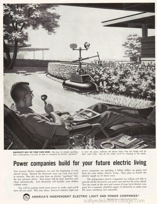 vintage ad suburbs gardening hi tech future