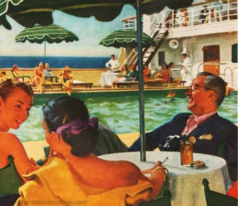 vintage illustration travel cruise 1950s