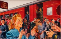 vintage ad illustration train 1945