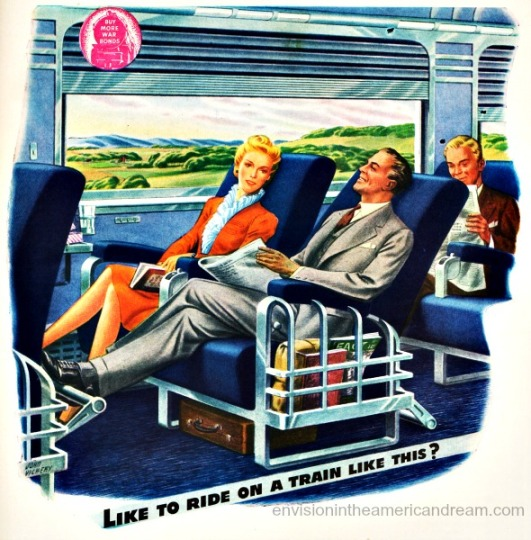 travel RR 1940s ad Vintage trains passenger illustration