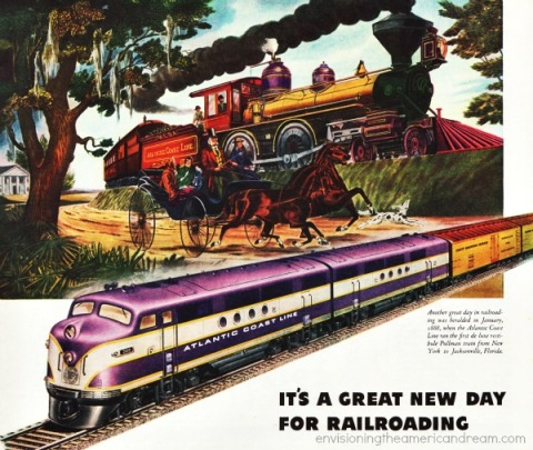travel RR GM Diesel train 1945 vintage  Ad illustration train