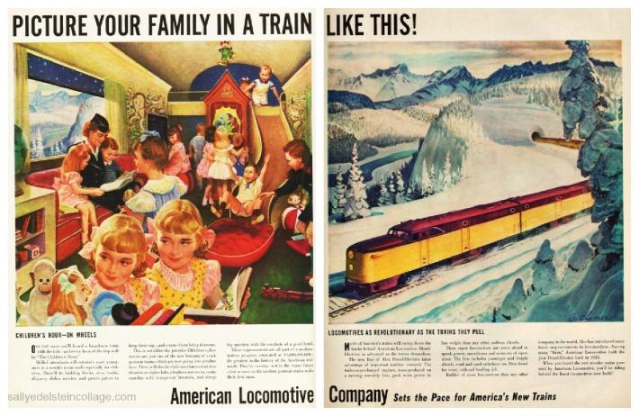 travel RR Postwar American  Locomotive ad 1940s vintage illustration train
