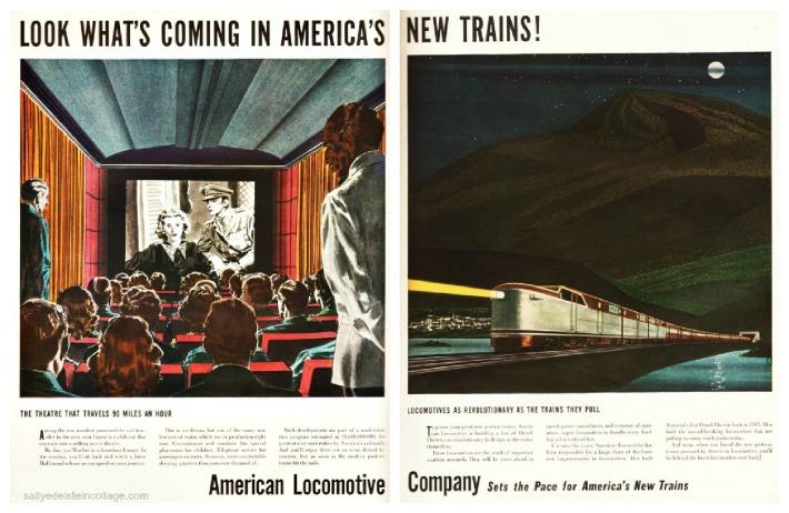 travel RR Postwar new trains illustration ad 1946