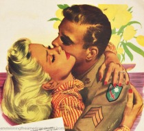vintage ad soldier kissing girl illustration