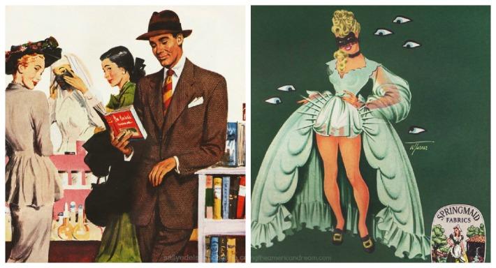 fashion springmaid ad men vintage illustration 1940s