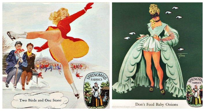 fashion Springmaid ads illustration pin up 1940s