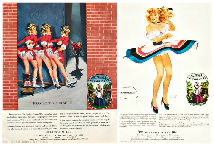 vintage womens Fashion springmaid ads illustration pin ups