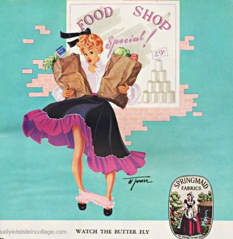fashion springmaid ad pin up illustration 1940s