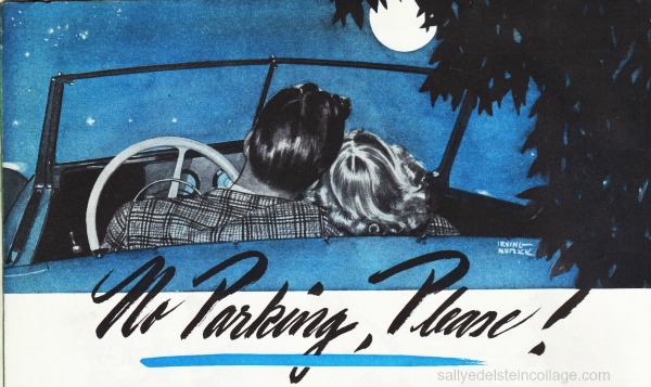 vintage illustration couple in car 1940s