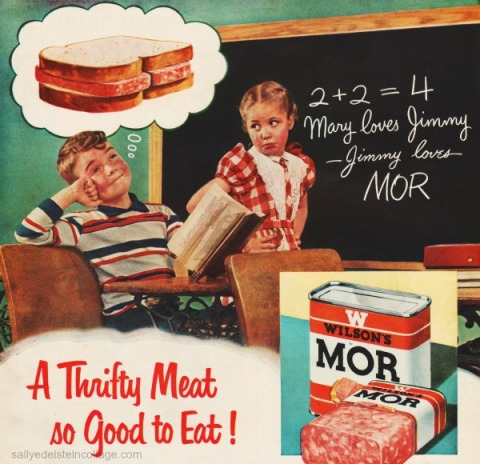 meat Wilsons ad boy and girl schoolroom