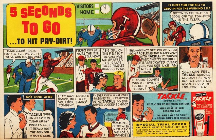 mens grooming tackle football  cartoon 1960s