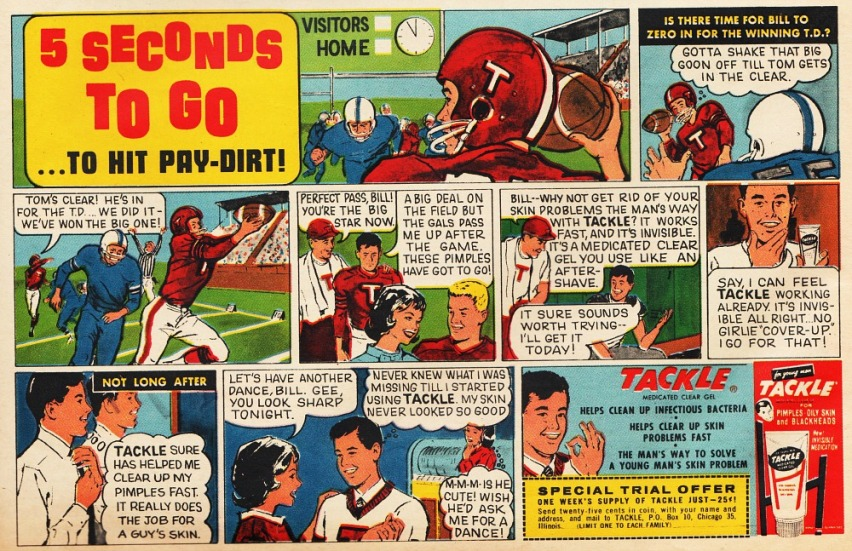mens grooming tackle football  cartoon 1960s