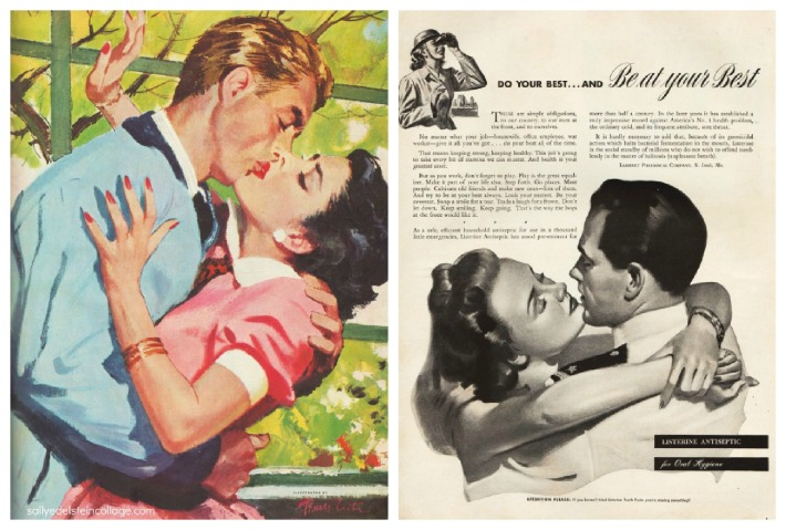 romance listerine ad  illustration couples kissing 1940s
