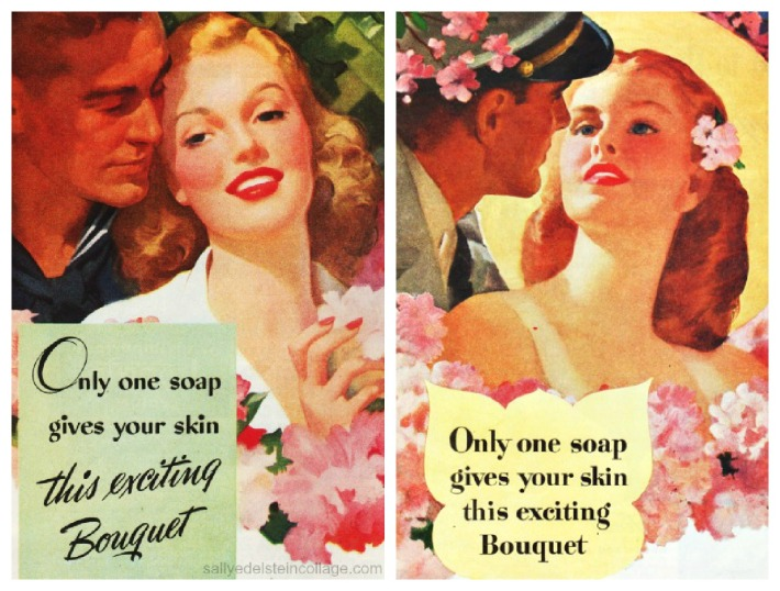 vintage illustration romantic couples soap ad 1940s