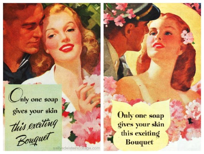 vintage illustration romantic couples soap ad 1940s