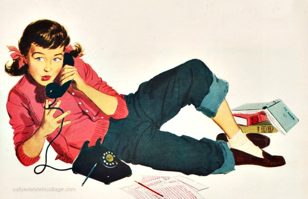 telephone teens illustration 1950