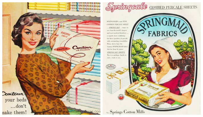 Textiles springmaid Fabric sheets 1950s housewife