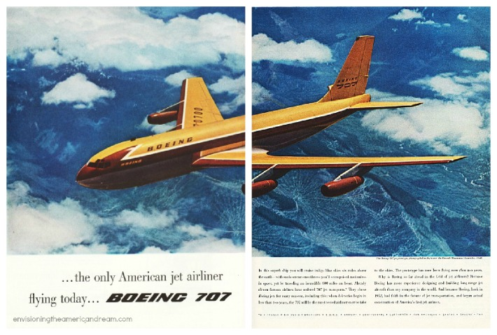 vintage travel airline ad Boeing 707 airplane