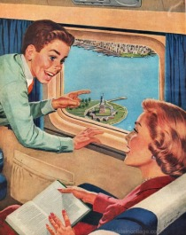 vintage illustration passengers on airlplane