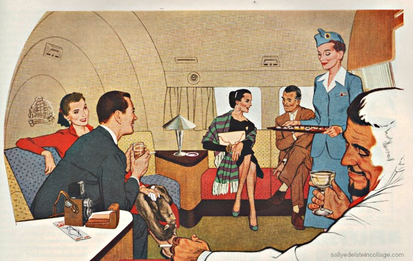 Vintage Ad airplane Pan Am 1950s illustation stewardess